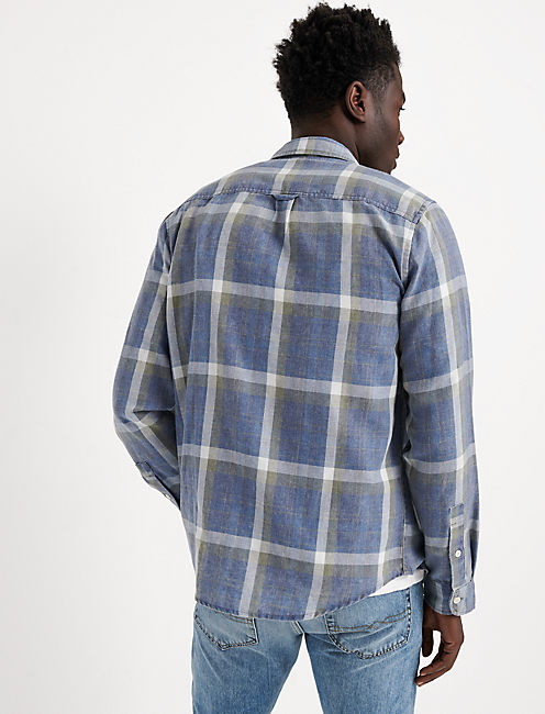 SLIM FIT BLUE PLAID CAMP TWILL SHIRT, BLUE PLAID
