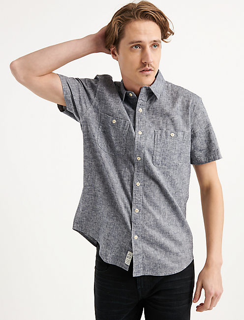 SATURDAY STRETCH LINEN CHAMBRAY WORK SHIRT, CHAMBRAY