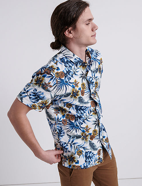 Azure Floral Club Collar Shirt