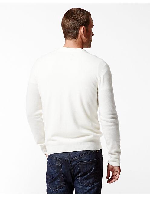 CASHMERE V NECK SWEATER, # 1627 STONE WHITE
