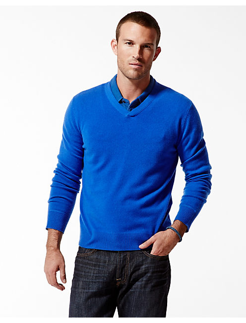 CASHMERE V NECK SWEATER, COBALT