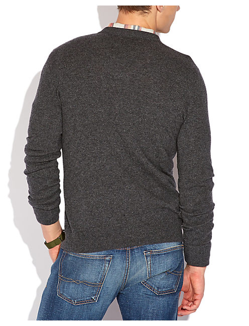 CASHMERE V NECK SWEATER, 79 CHARCOAL
