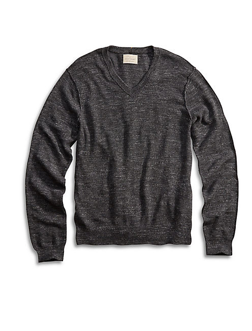 White Label Vneck Sweater, CHARCOAL
