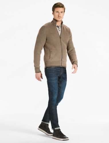 Lucky Full Zip Mock Neck Sweater
