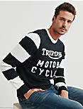 TRIUMPH RACING SWEATER, NAVY/WHITE
