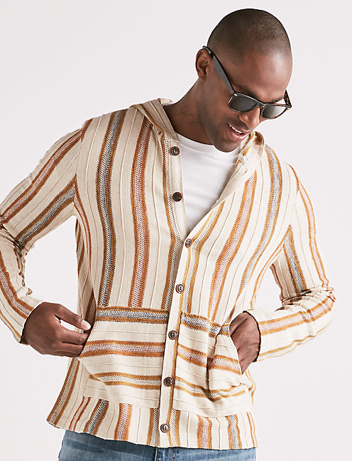 STRIPED BAJA BUTTON DOWN SHIRT,