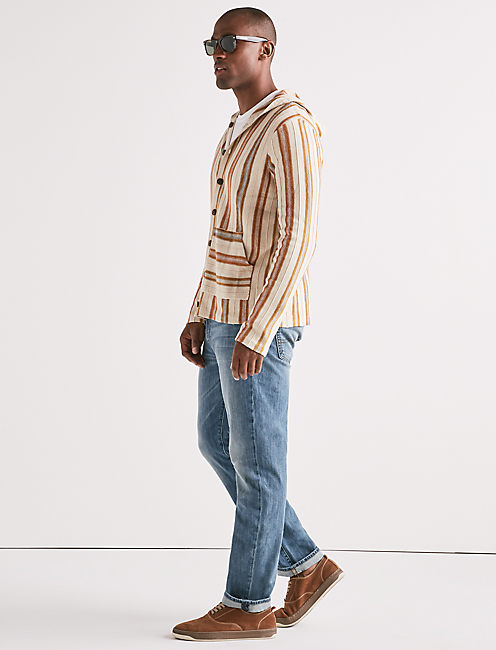 Lucky Striped Baja Button Down Sweater