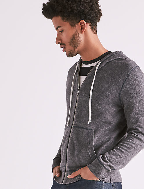 WELTERWEIGHT LINEN HOODIE, HEATHER CHARCOAL