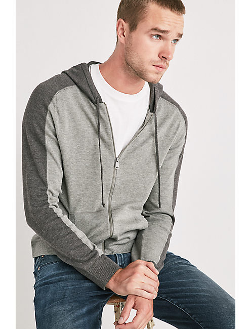 COOLMAX FULL ZIP HOODIE, HEATHER GREY/CHARCOAL