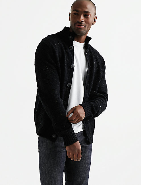 DONEGAL BUTTON MOCK CARDIGAN, #001 BLACK