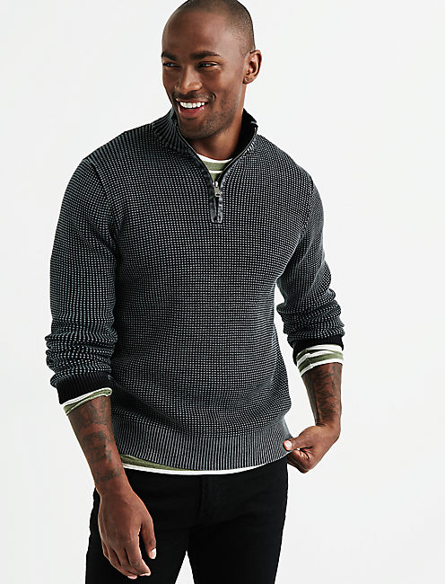 1/2 ZIP WASHED COTTON MOCK NECK, JET BLACK