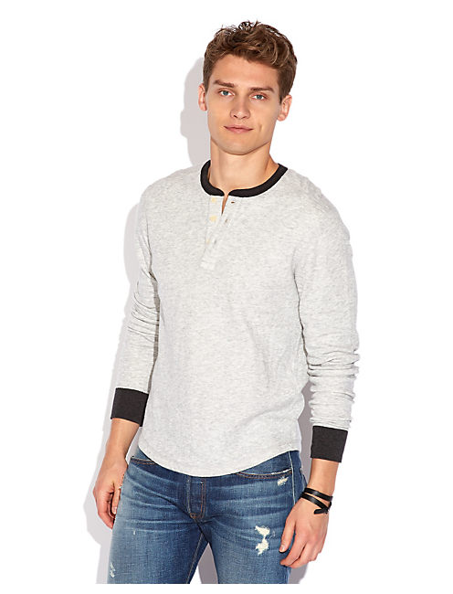 DOUBLE KNIT LS HENLEY, HEATHER GREY