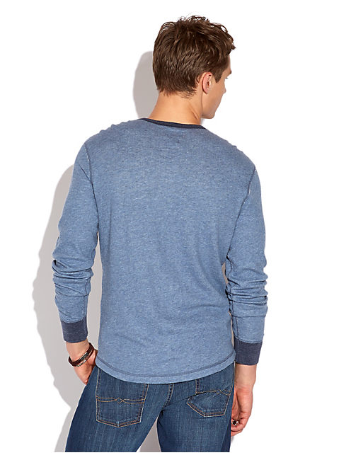 DOUBLE KNIT LS HENLEY, HEATHER BLUE