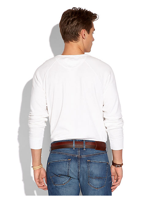 LS DOUBLE KNIT HENLEY, VINTAGE WHITE #1625