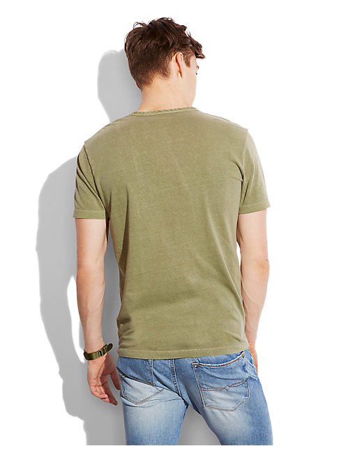 Y NECK HENLEY, DUSTY OLIVE
