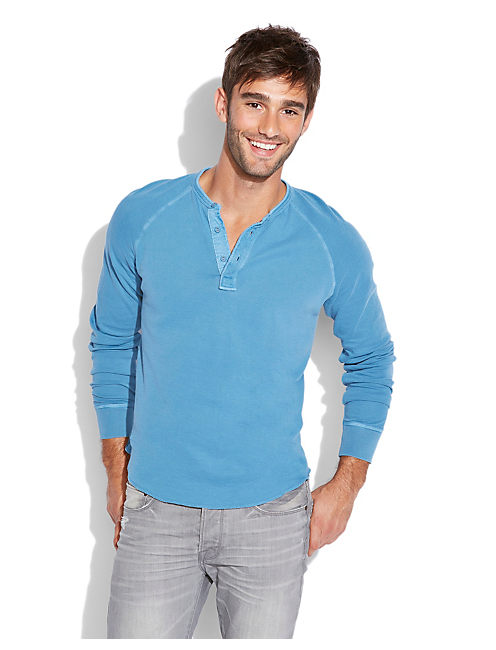 DOUBLE KNIT HENLEY, LT VICTORIA BLUE