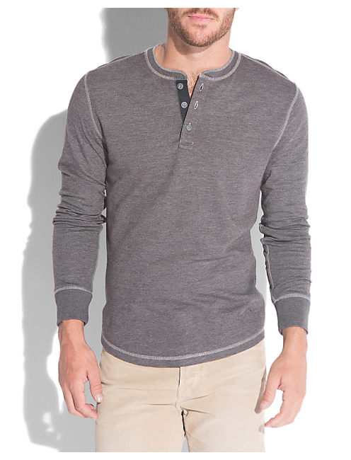 TRIBLEND HENLEY, #1631 CHARCOAL GRAY