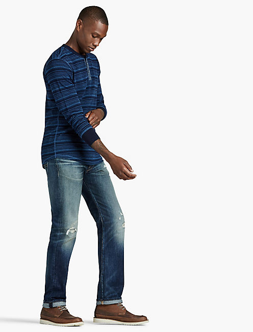 LUCKY LIVED IN INDIGO THERMAL HENLEY
