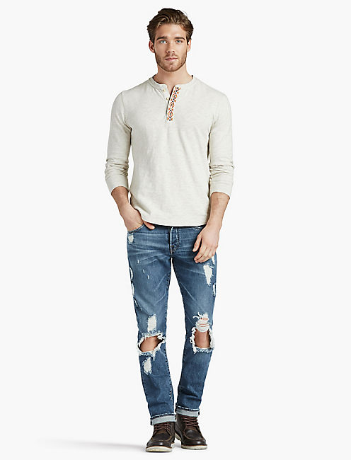 Lucky Pendleton Embroidered Henley