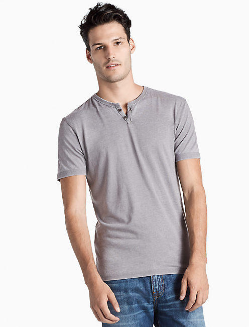 VENICE BURNOUT BUTTON NOTCH TEE,