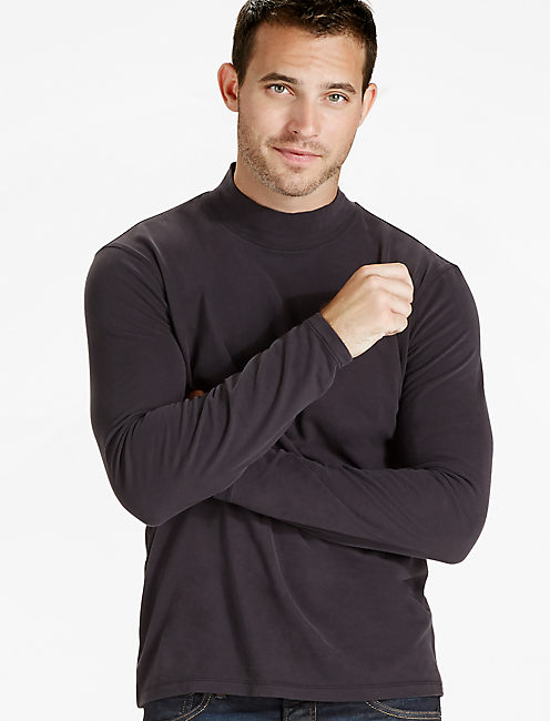 SUPIMA COTTON TURTLENECK, JET BLACK