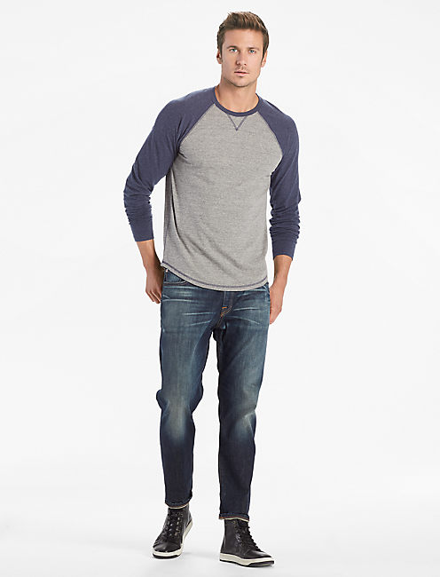 SATURDAY STRETCH COLORBLOCK TEE, NAVY MULTI