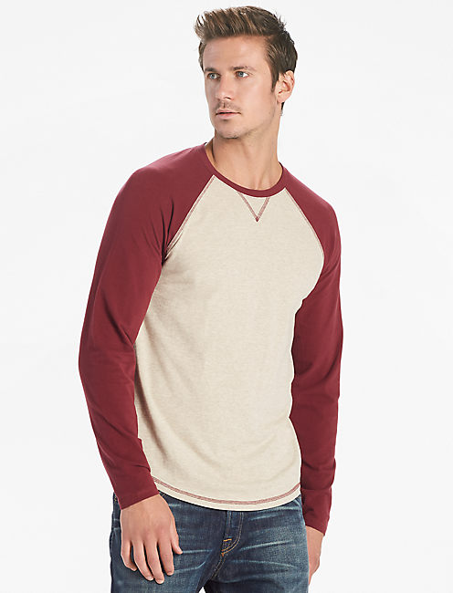 SATURDAY STRETCH COLORBLOCK TEE, BURGANDY MULTI