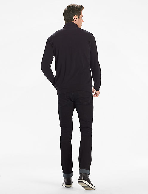 SATURDAY STRETCH POPOVER MOCK, JET BLACK