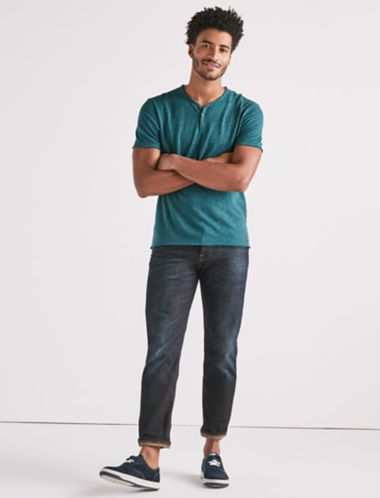 Lucky Raw Edge Y-neck Henley