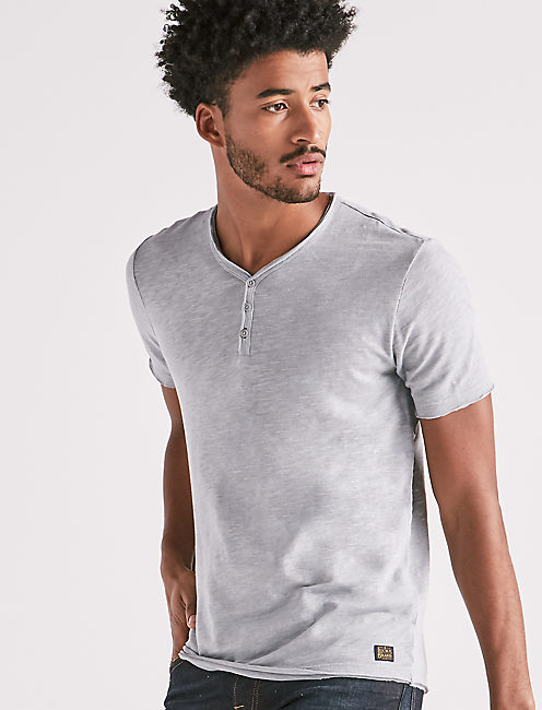 RAW EDGE Y-NECK HENLEY,