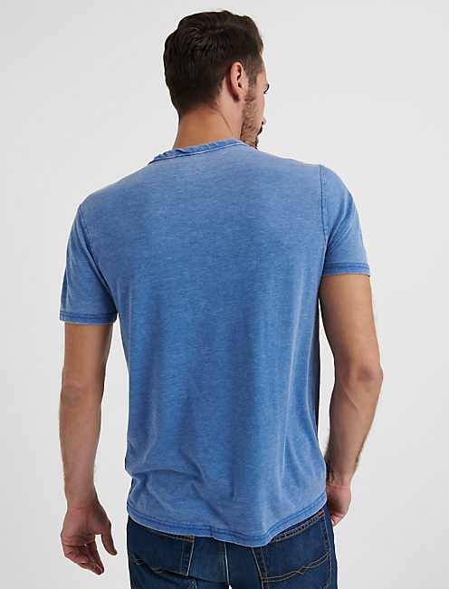 VENICE BURNOUT BUTTON NOTCH TEE, MONACO BLUE