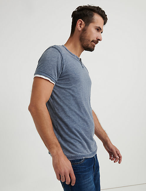 Lucky Venice Burnout Button Notch Tee