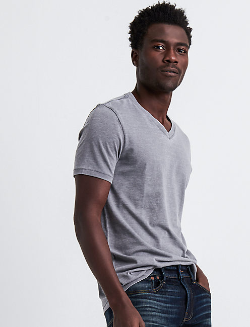VENICE BURNOUT V-NECK TEE, FROST GRAY