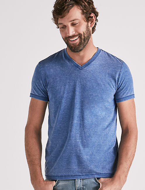 VENICE BURNOUT V-NECK TEE, MONACO BLUE