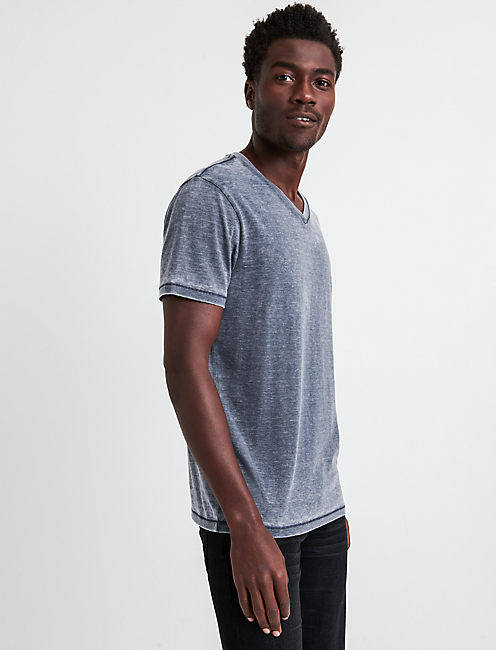 VENICE BURNOUT V-NECK TEE, AMERICAN NAVY