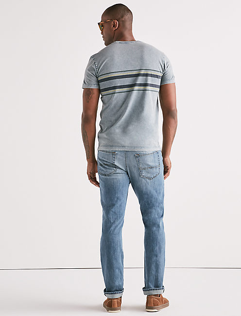 ACID WASH CHEST STRIPE CREW TEE,