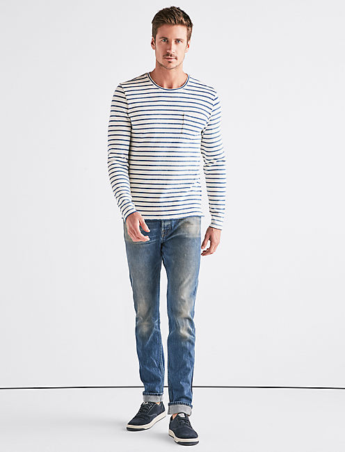 INDIGO STRIPE POCKET CREW,