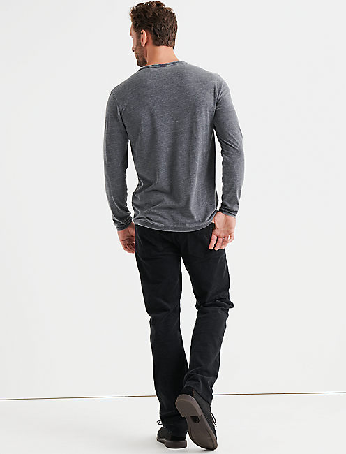VENICE BURNOUT NOTCH RINGER TEE, JET BLACK