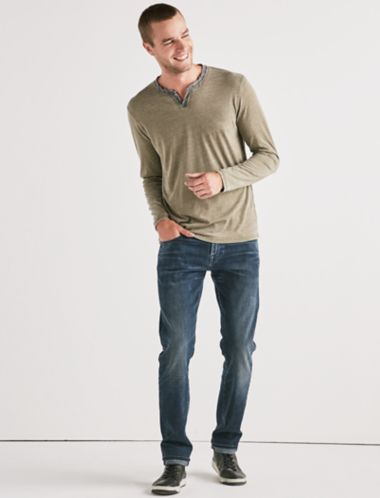 Lucky Venice Burnout Notch Ringer Long Sleeve Tee