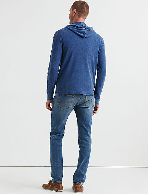 VENICE BURNOUT THERMAL HOODY, ESTATE BLUE