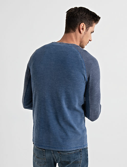 VENICE BURNOUT RAGLAN THERMAL, ESTATE BLUE