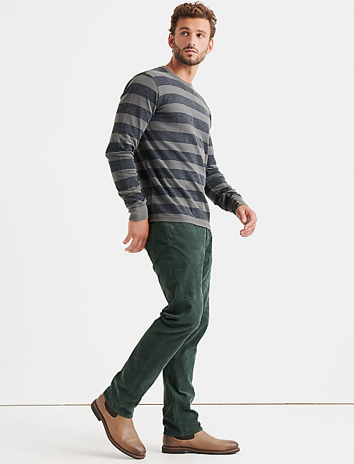 HEATHER THERMAL STRIPE CREW,