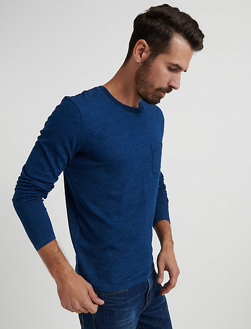 Long Sleeve Indigo Pocket Crew