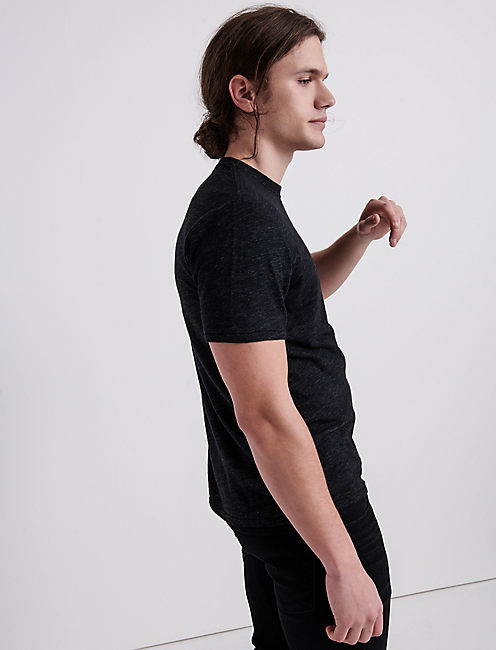 LINEN ONE POCKET TEE, #001 BLACK