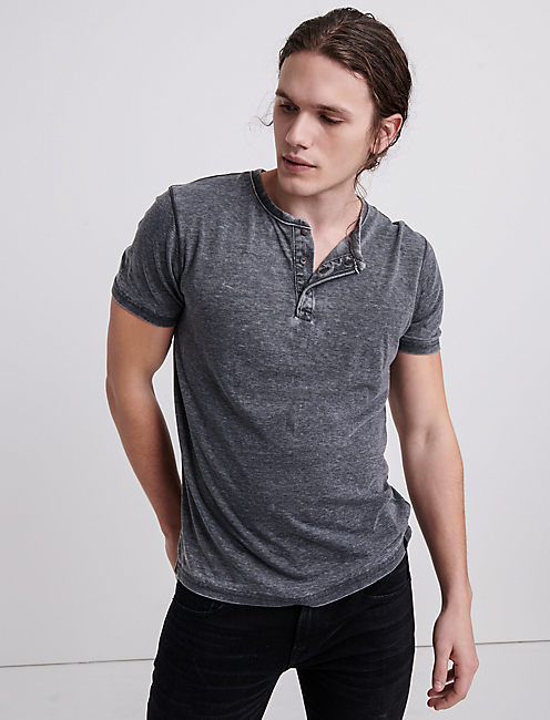 VENICE BURNOUT HENLEY, JET BLACK