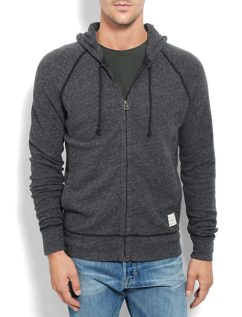 DOUBLE KNIT HOODIE, CHARCOAL