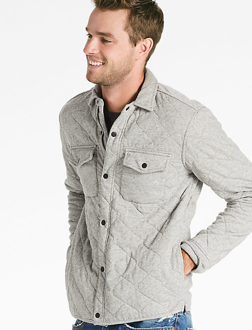 QUILTED WESTERN SHIRT JACKET, HEATHER GREY