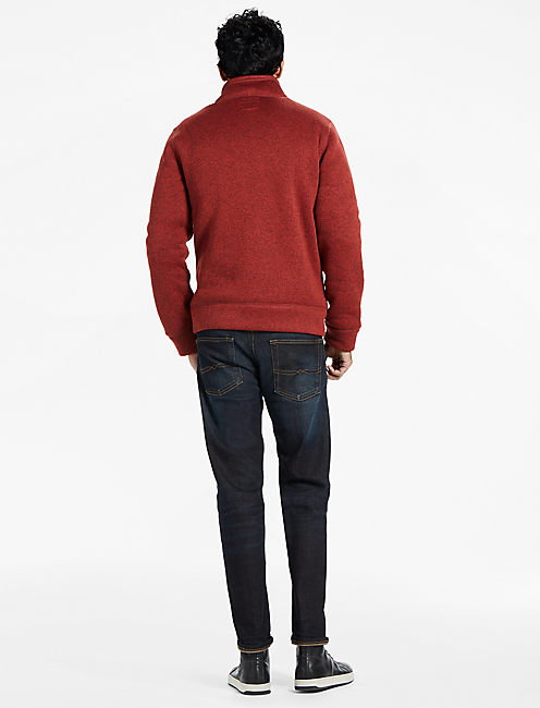 SHEARLESS FLEECE FULL ZIP MOCKNECK, RED PEAR