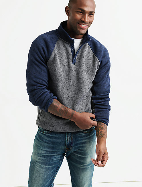 SHEARLESS FLEECE COLORBLOCK MOCKNECK,
