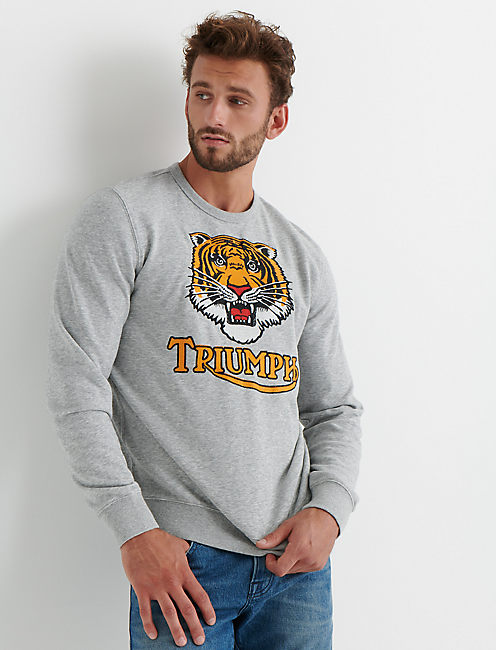 TRIUMPH EMBROIDERY SWEATSHIRT, HEATHER GREY